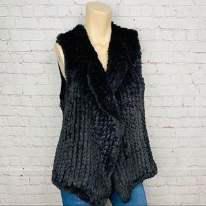 NANETTE LEPORE Faux Fur Vest Black Open Front Sz L